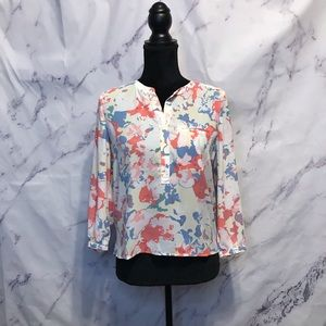 NYDJ Abstract Pastel Print Henley Top